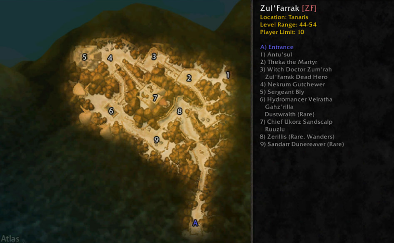 Zul'Farrak boss location